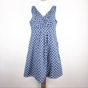Lands' End Sz 12 Blue Chain Cotton Sun Dress